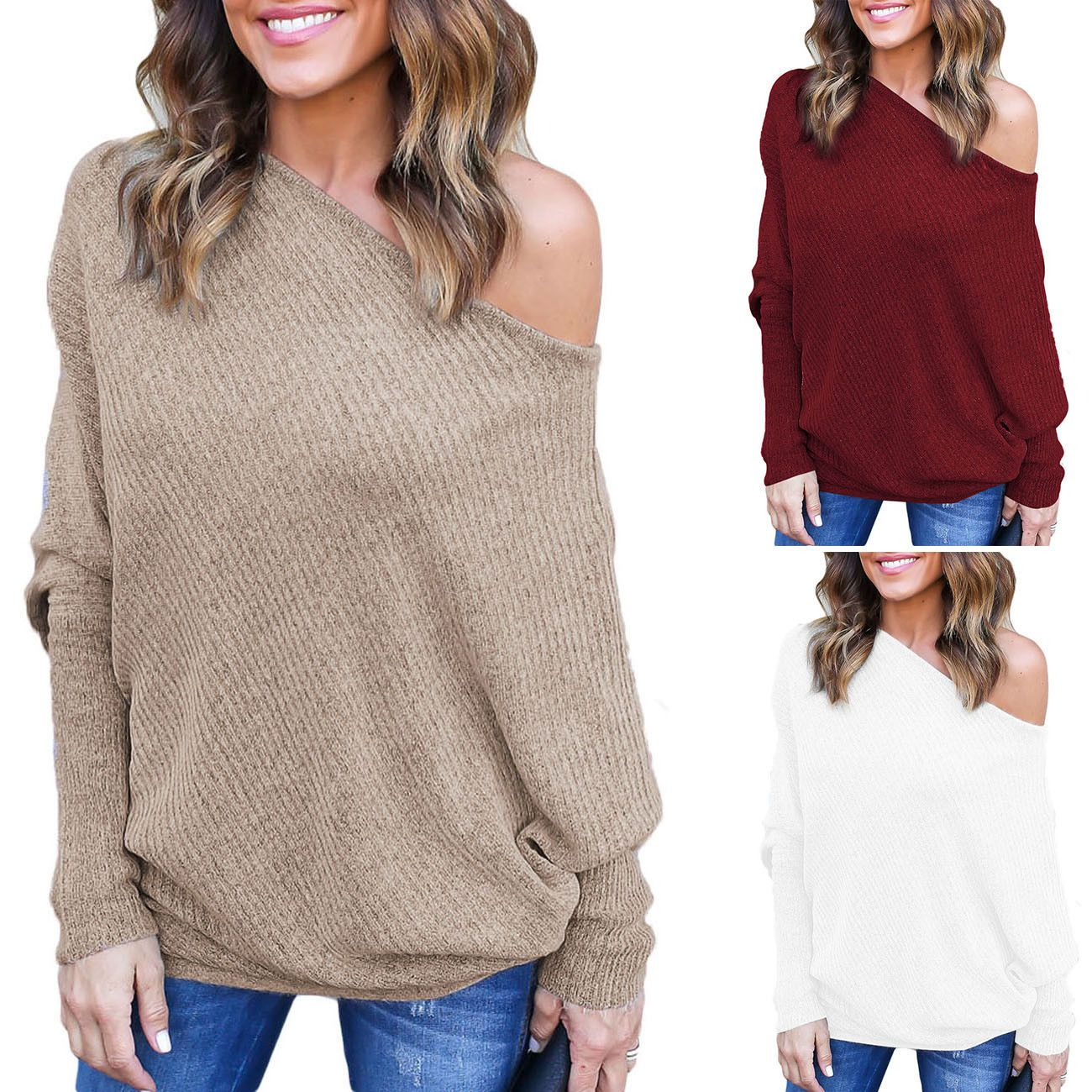 359c62c02c0444 Womens Off The Shoulder Chunky Knit Jumper Ladies Oversized Baggy Sweater  Top Gw Spring Skirts