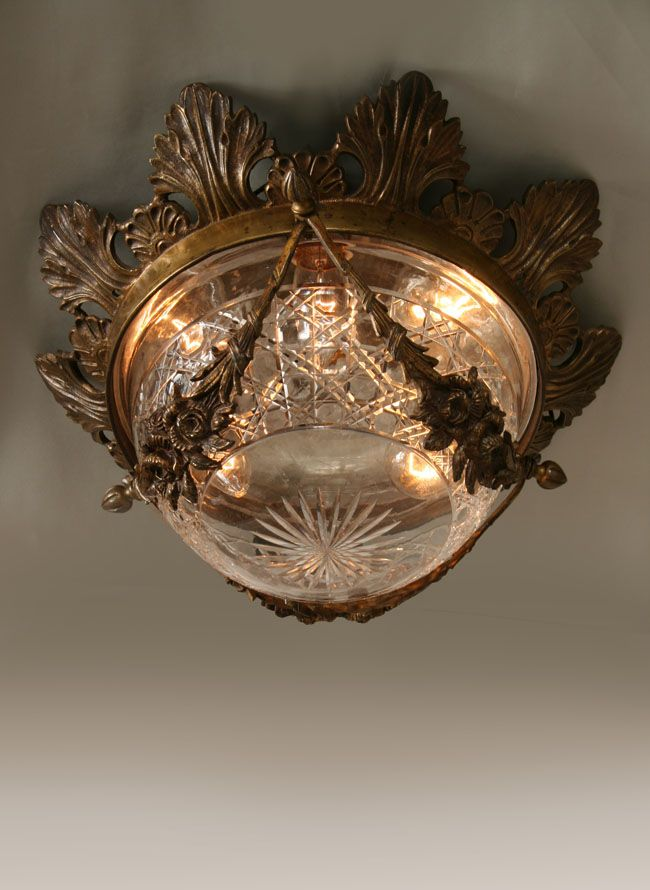 vintage cut glass ceiling light with cast brass