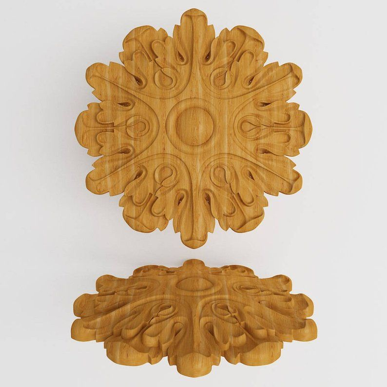 """Rosette 4/"""" x 4/"""" x 3//4/""""thick Wooden carved decor"""