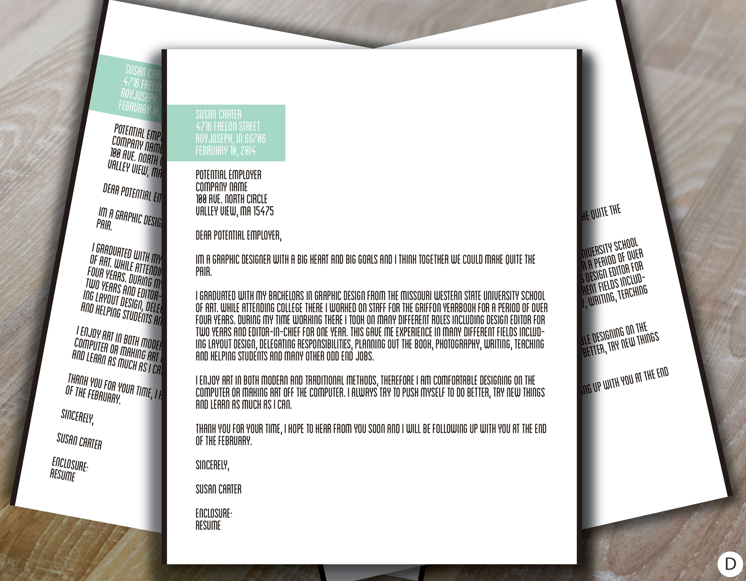 Cover Letter Sample Greenwell Design   Leave Behind ...