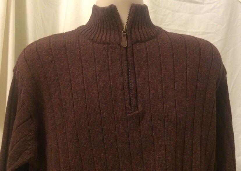 Oscar De La Renta Mens Sweater Sz Xl Maroon Brown Ribbed Mock Neck