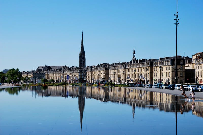 The mirror in Bordeaux. Tourism in Bordeaux in France ,