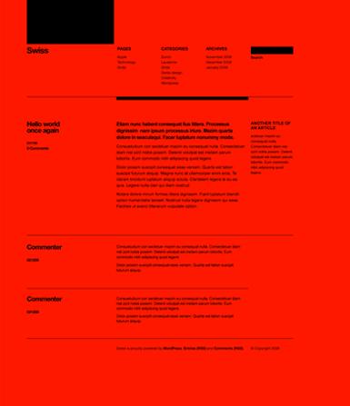 Swiss Design Wordpress Theme Red Swiss Design Web Design Web Inspiration