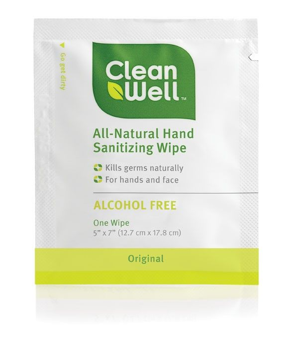 Cleanwell All Natural Individual Hand Sanitizer Wipe Meet