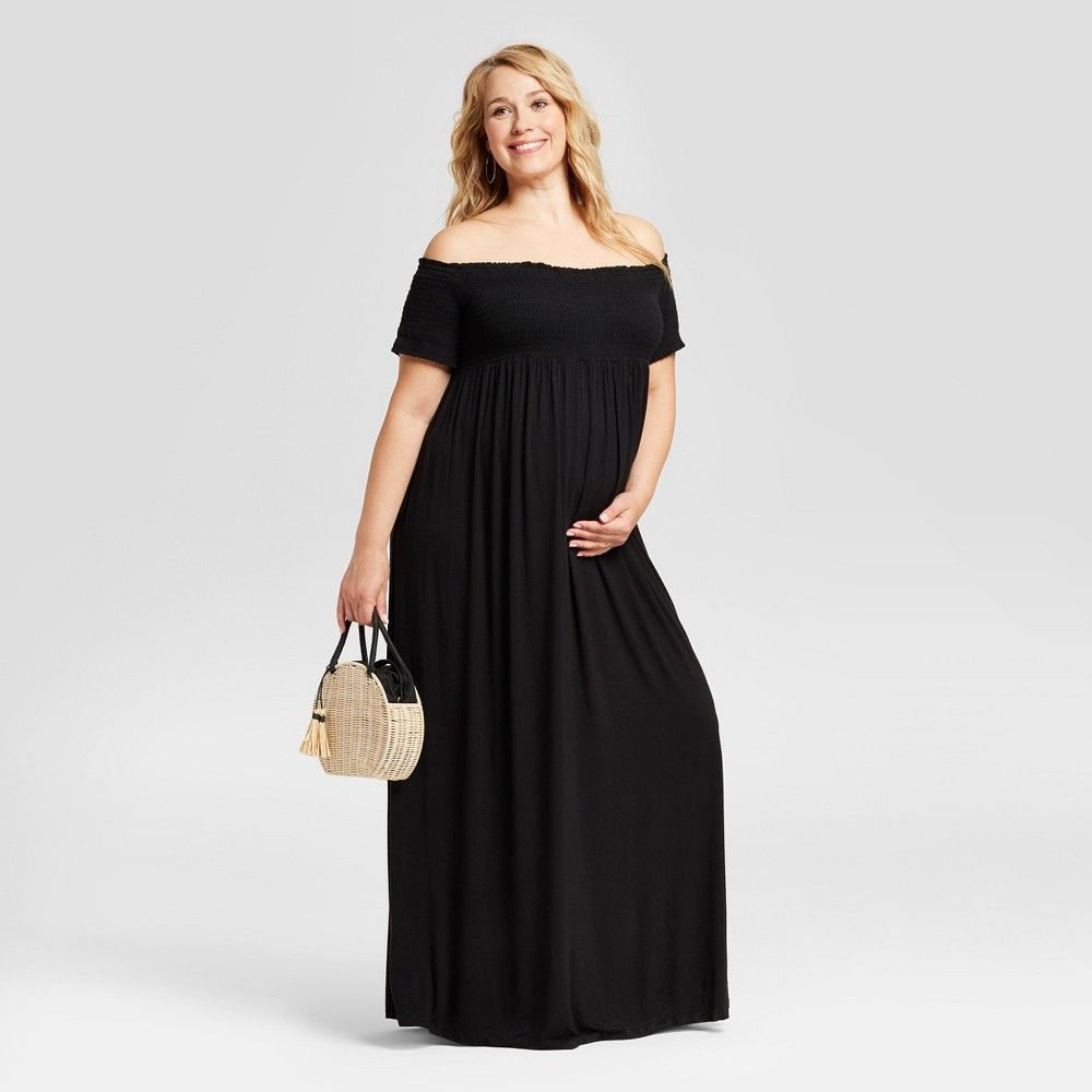 1bea98950097 Maternity Plus Size Smocked Maxi Dress - Isabel Maternity by Ingrid & Isabel  Black 3X, Women's