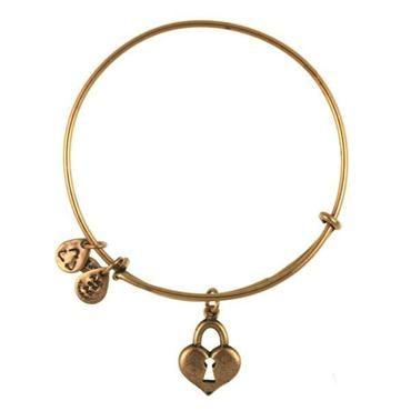 Alex And Ani Key To My Heart Charm Bangle Bracelet Russian Gold Finish Item