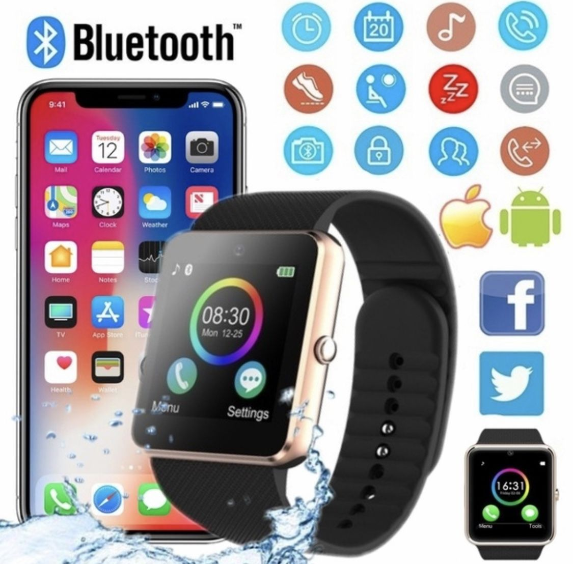 Package : 1 X GT08 Smart Watch 1 X User Manual 1 X USB Cable