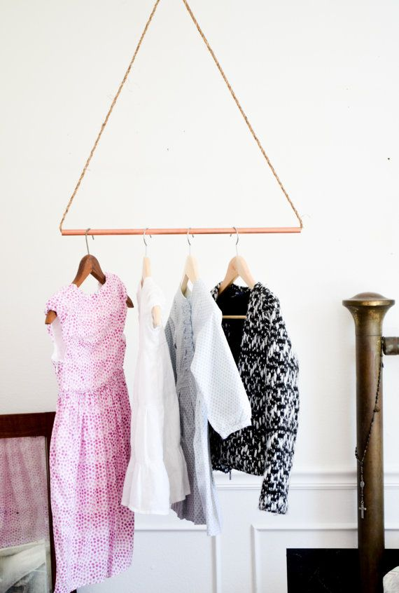 Items Similar To Reclaimed Copper Pipe Garment Rack. Hanging Clothes Rack.  Minimalist Storage. Industrial Modern Geometric Triangle Jute Rope On Etsy