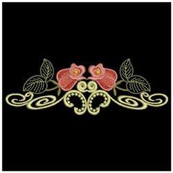 Ace Points Embroidery Design Pack: Red Roses Border