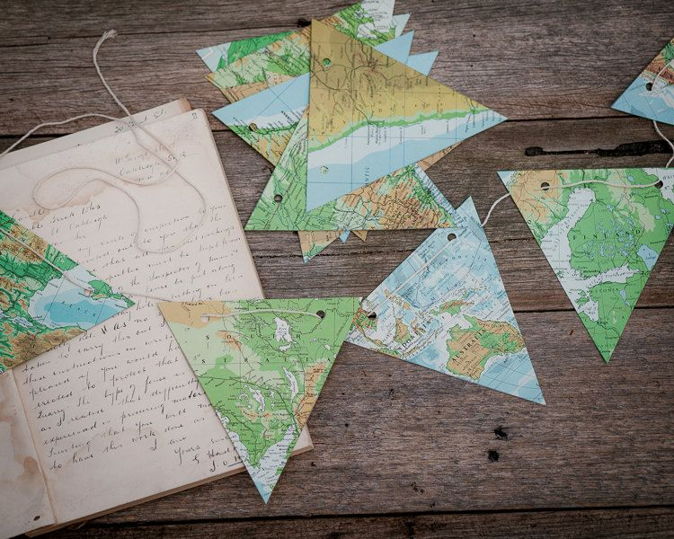 world map paper bunting vintage atlas map bunting party decoration map decor travel decor - World Map Decor