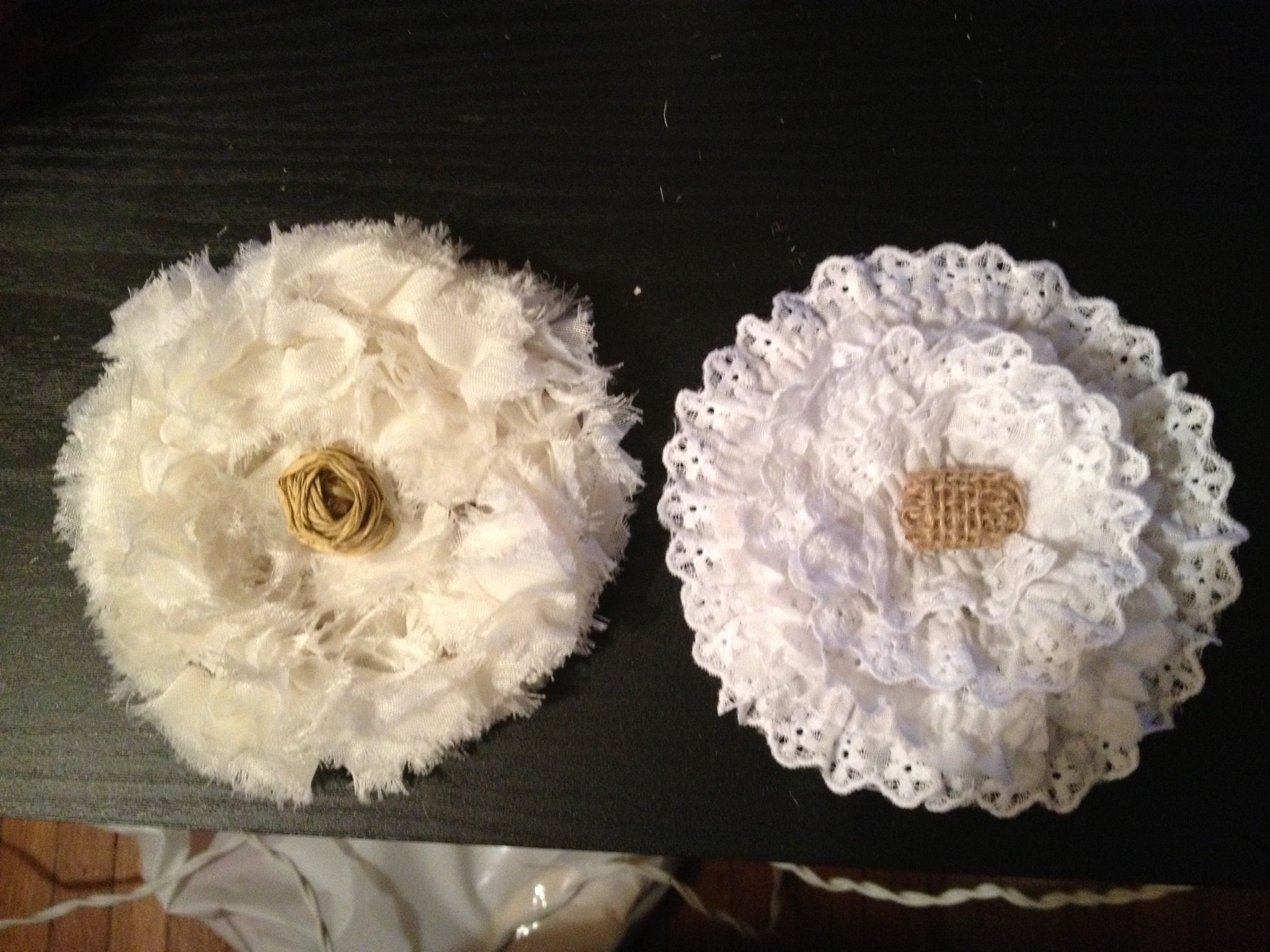 Lace and burlap flowers. Super easy!!