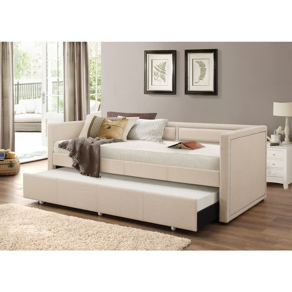 baxton studio sofia modern beige or grey fabric nailheads trimmed sofa twin daybed with roll