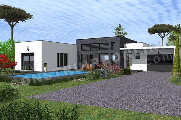 plan de maison moderne contemporaine QUARTERBACK 4 Le rêve Pinterest - facade de maison moderne