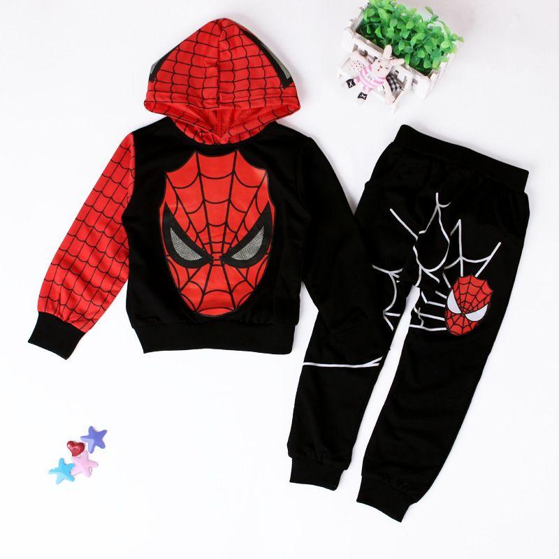 Kids Boys Hoodies Jumper Sweatshirt Pants Trousers Spiderman Cosplay Outfit Set