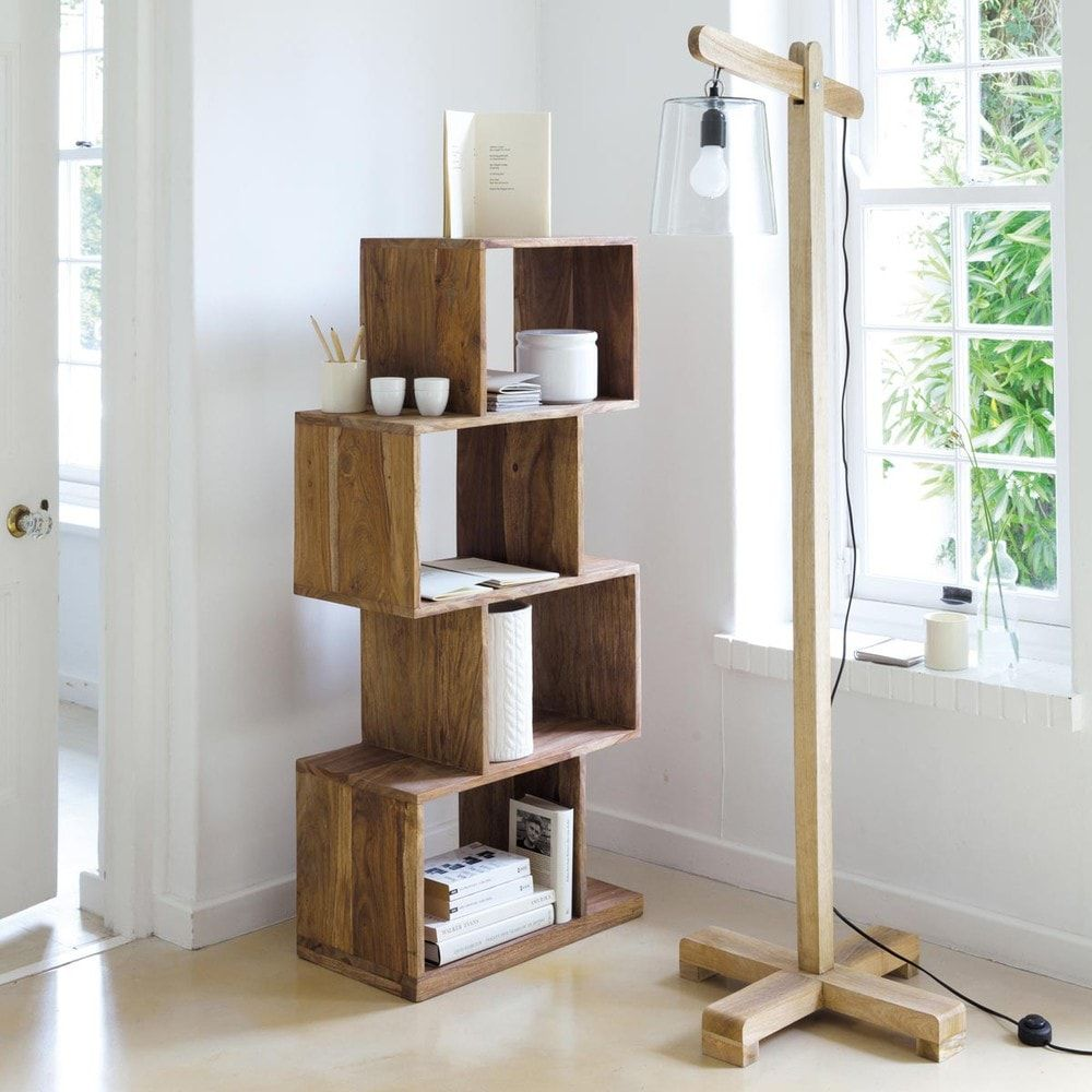 Solid Sheesham Unstructured 4 Compartment Shelf Unit