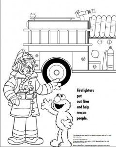 Free Sesame Street Coloring Book About Fire Safety