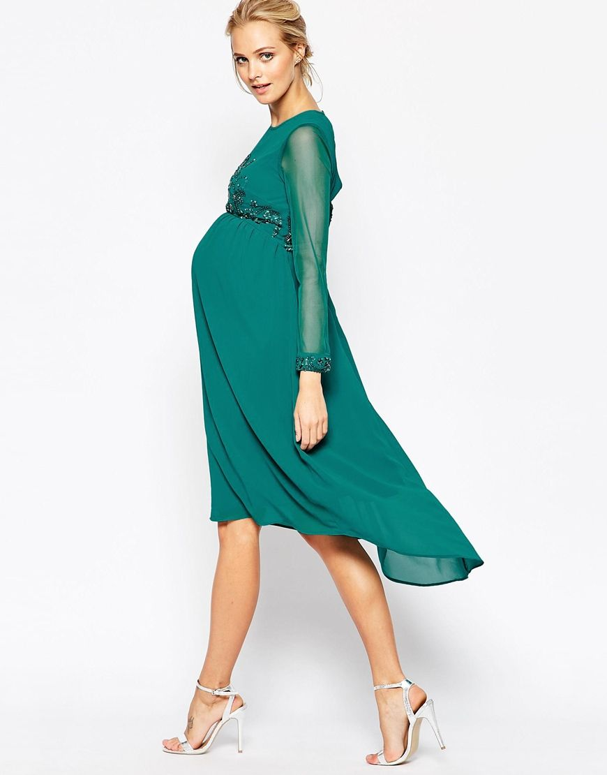 Image 4 of Maya Maternity Midi Dress With Embellished Bodice And ...