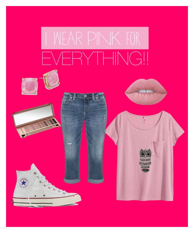 """""""Pink"""" by gracief-9 on Polyvore featuring Kate Spade, H&M, Silver Jeans Co., Mudd, Urban Decay, Converse, Lime Crime and IWearPinkFor"""