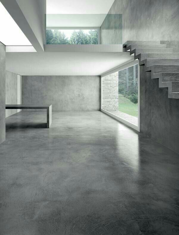 Espacio habitacional hecho en su mayor a con concreto for Piso de concreto pulido