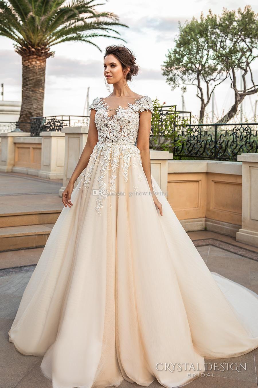Sheer long sleeve wedding dresses  Romantic princess ivory cream wedding dresses  crystal design