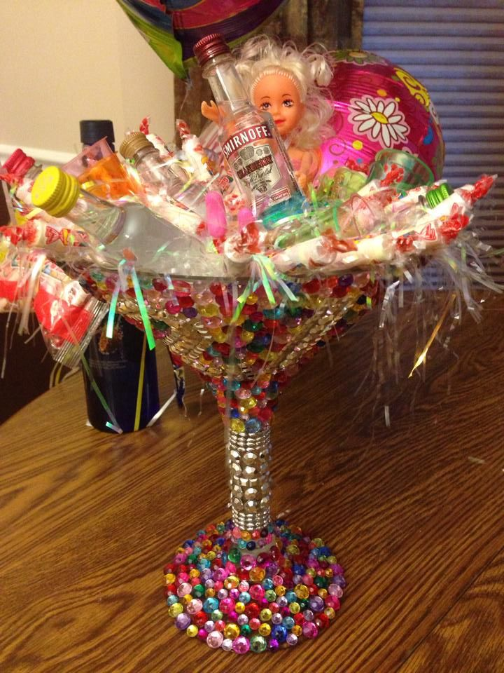 21st Birthday Gift Made With Rhinestones And Tacky Glue Super Easy Craft That Looks Awesome