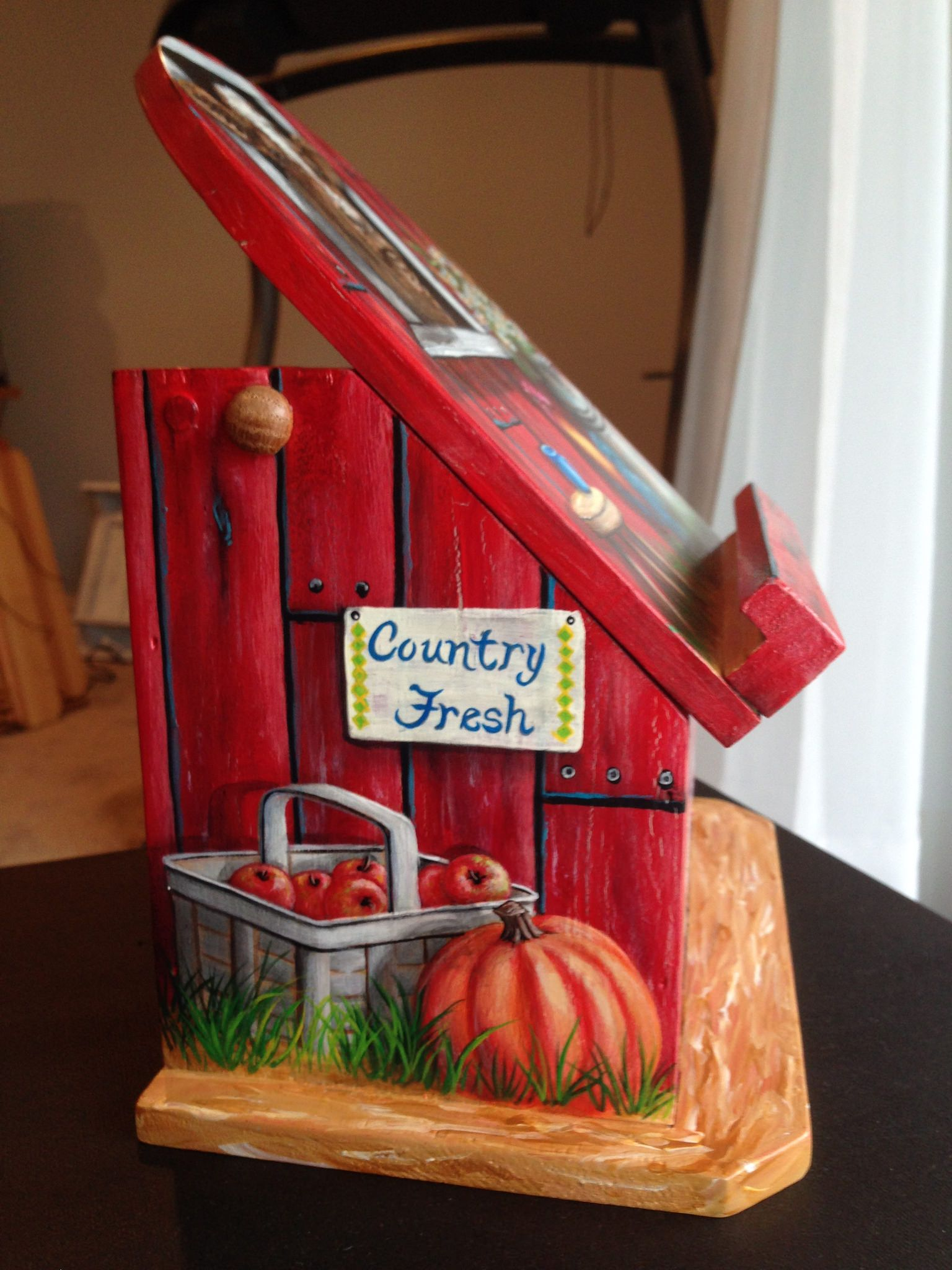 https://flic.kr/p/B5Qpmi | Country Farm Wood Recipe Box | Red barn with a cow, rooster, milk can, wagon wheel, apple basket recipe box, hand painted by sherrylpaintz