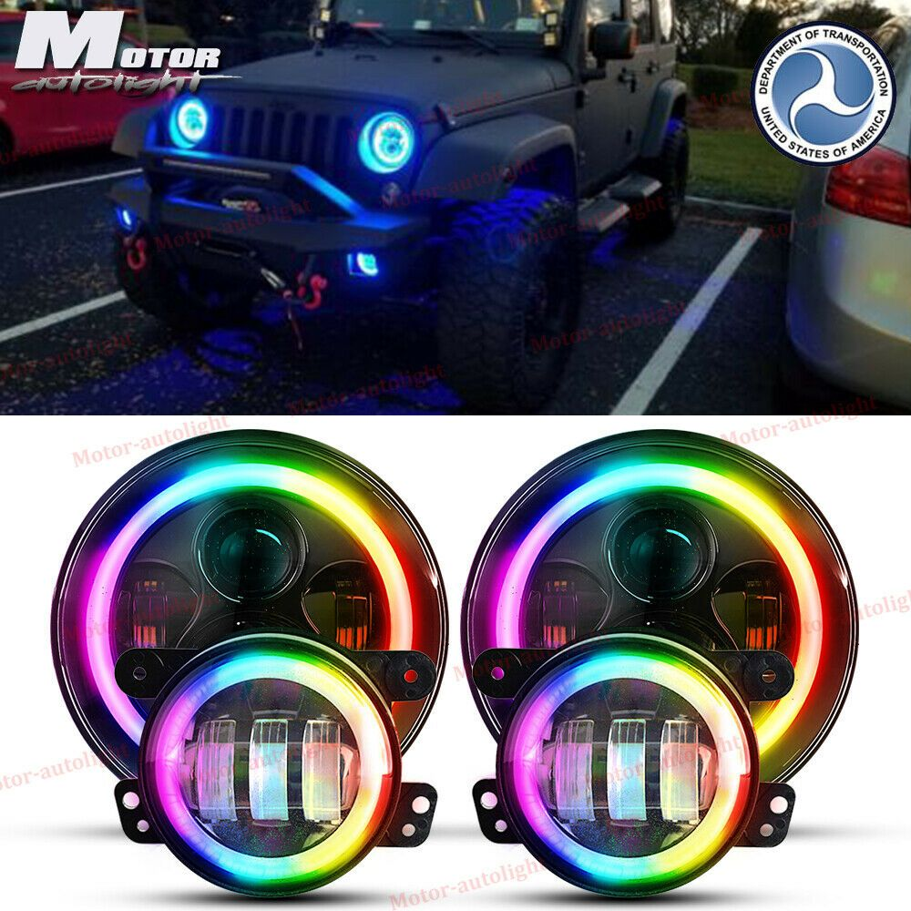 Ad Ebay For Jeep Wrangler Jk 7 Inch Led Rgb Headlights Color