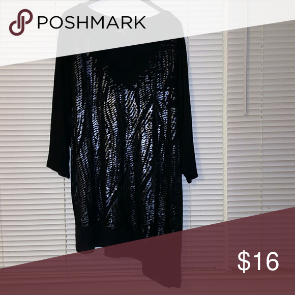 Apt. 9 Black tunic Black jersey material with silvery design, sheer hi/low hem, 3/4 sleeves, NWOT Apt. 9 Tops Tunics