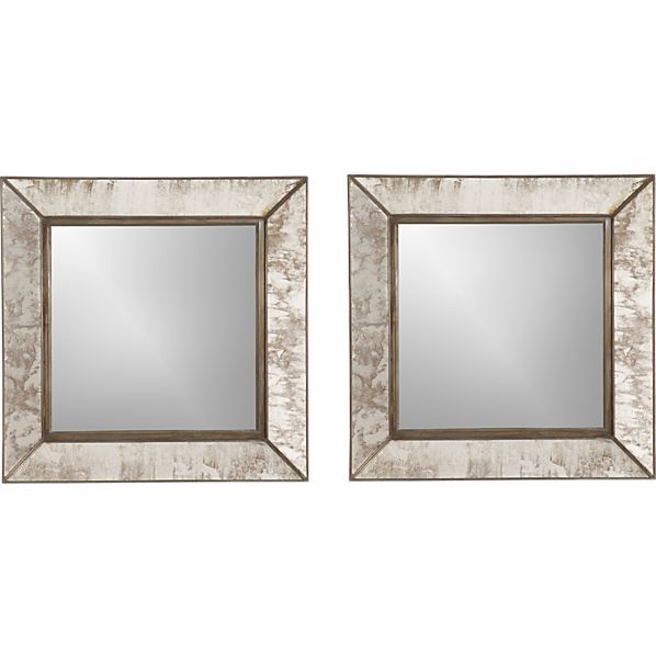 Bathroom Mirrors Crate And Barrel set of 2 dubois wall mirrors in wall mirrors | crate and barrel