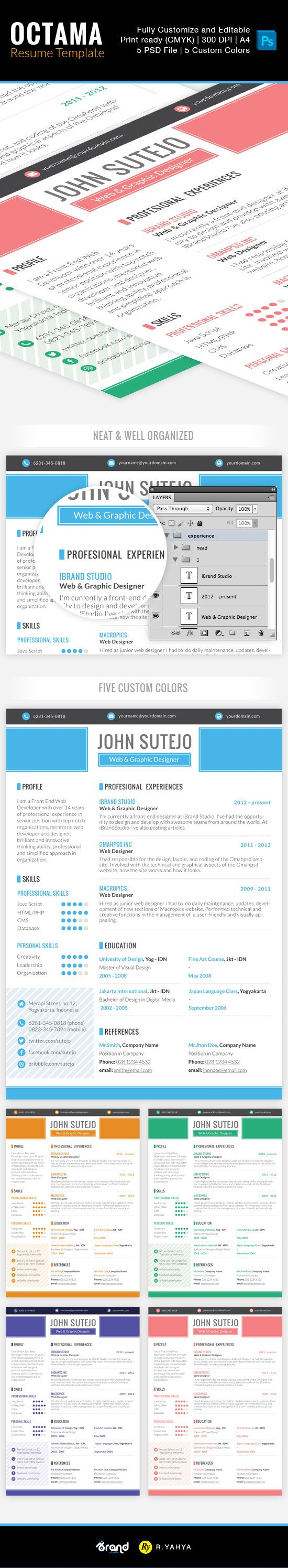 Free Resume Template Octama Single Page Psd  Free Resume
