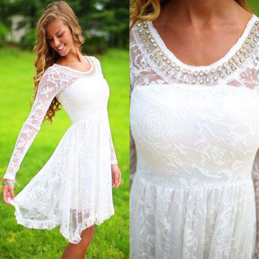 Long Sleeve White Lace Bodice Chiffon Skirt Elegant Simple: Long Sleeve White See Through Lace Simple Beaded Cheap