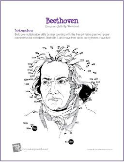 Beethoven Composer Multiplication Connect The Dot Music Lesson
