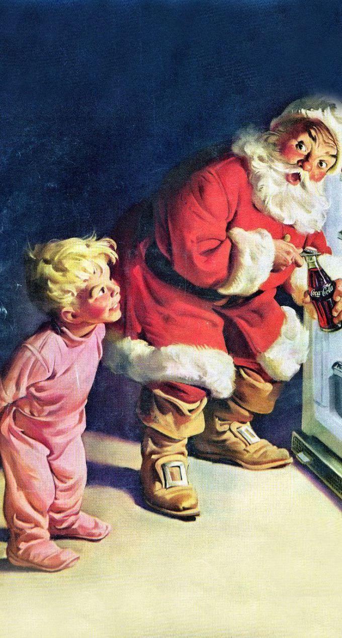 クリスマス レトロなコカコーラのポスター Iphone壁紙 Wallpaper