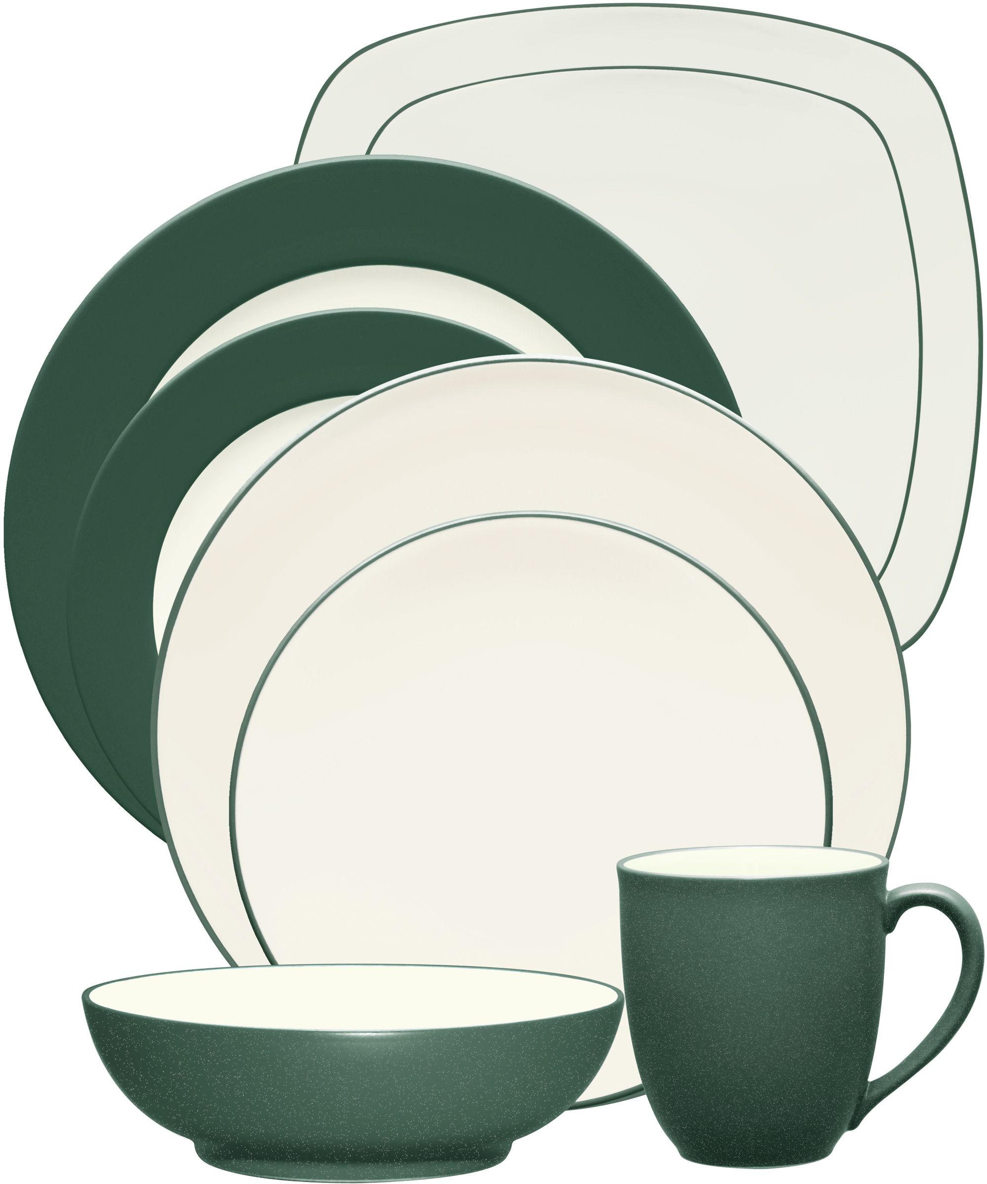 Noritake - Colorwave Collection - Coupe, Rim, Square - Spruce ...