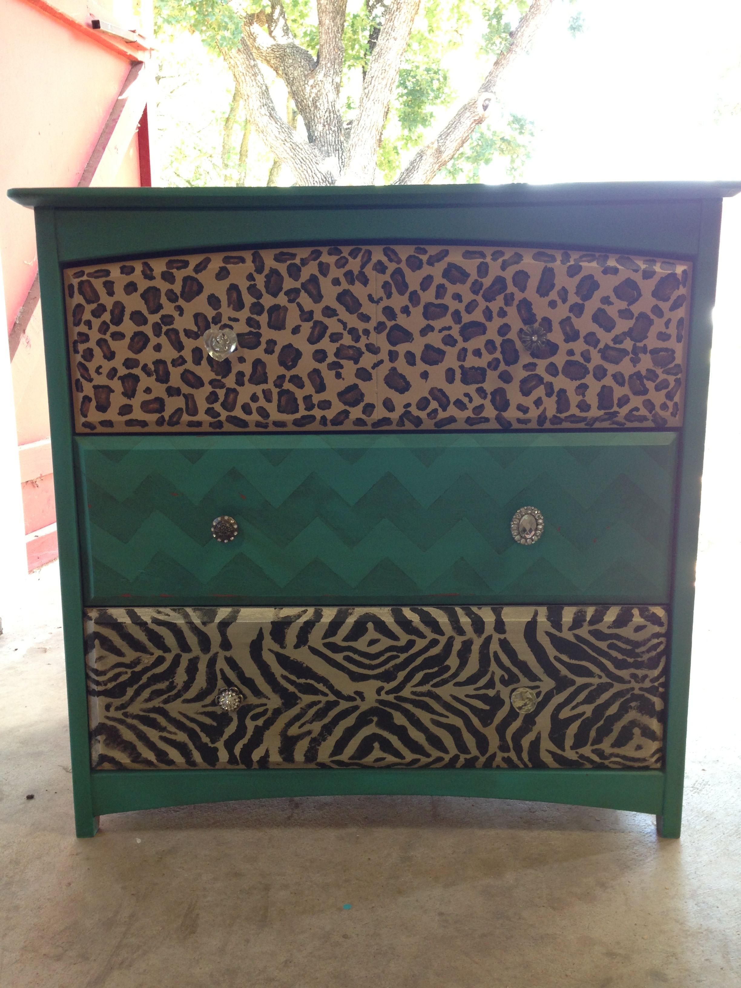 Leopard Chevron Zebra Painted Chest Furniture Up Do