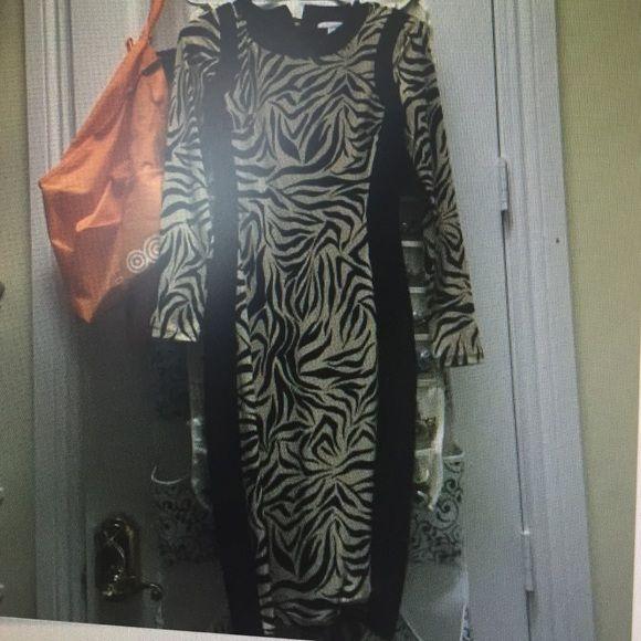 New York & co zebra midi sheath dress xs Worn once. No flaws New York & Company Dresses Midi