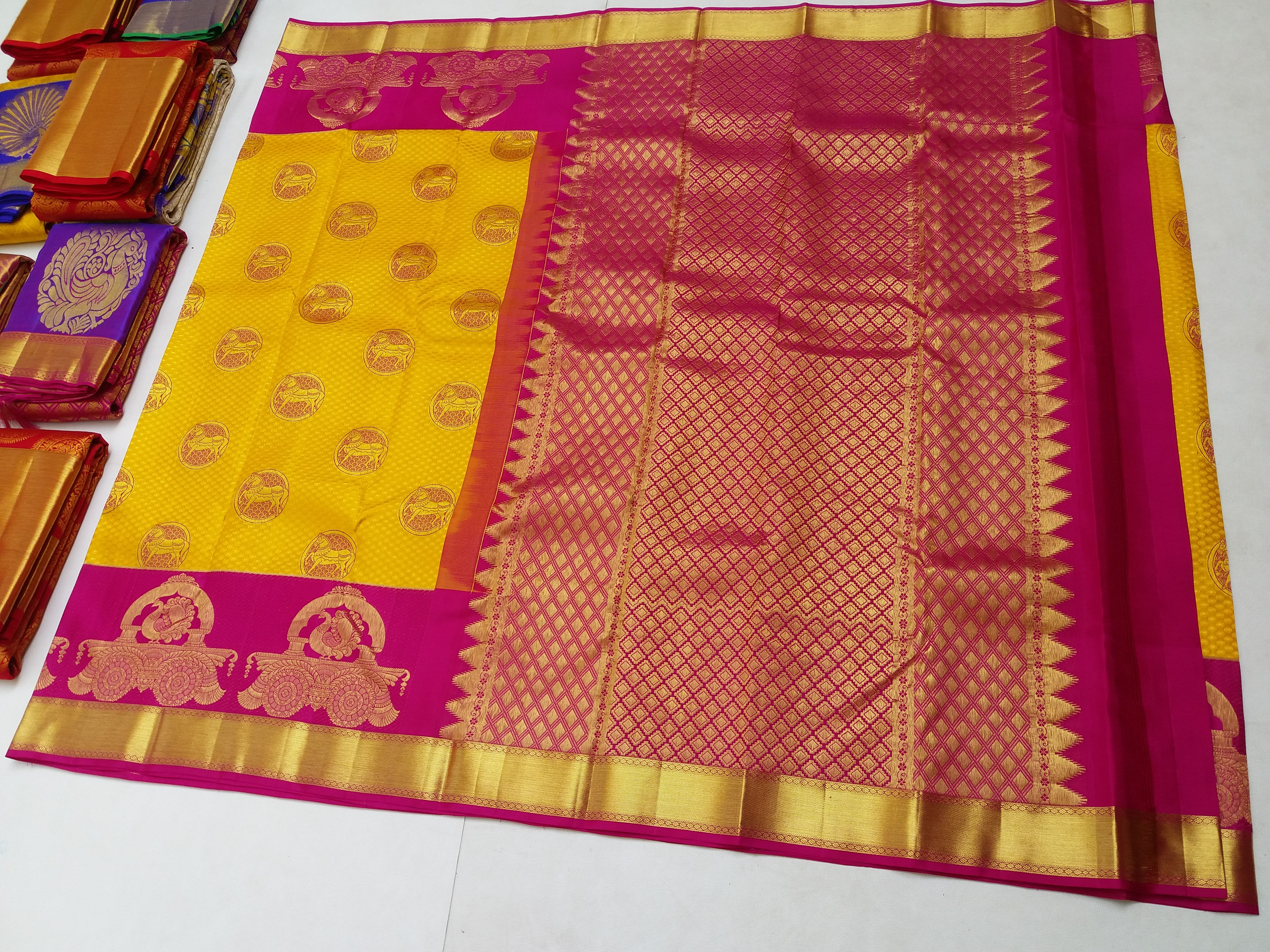 We are manufacturer and suppliers of Kanchipuram Wedding Silk Sarees