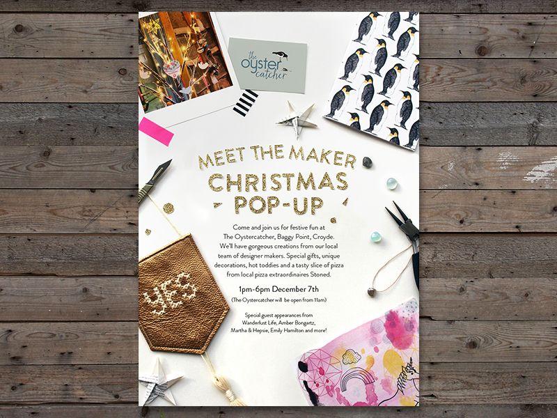 Meet the maker christmas pop up poster studio desk