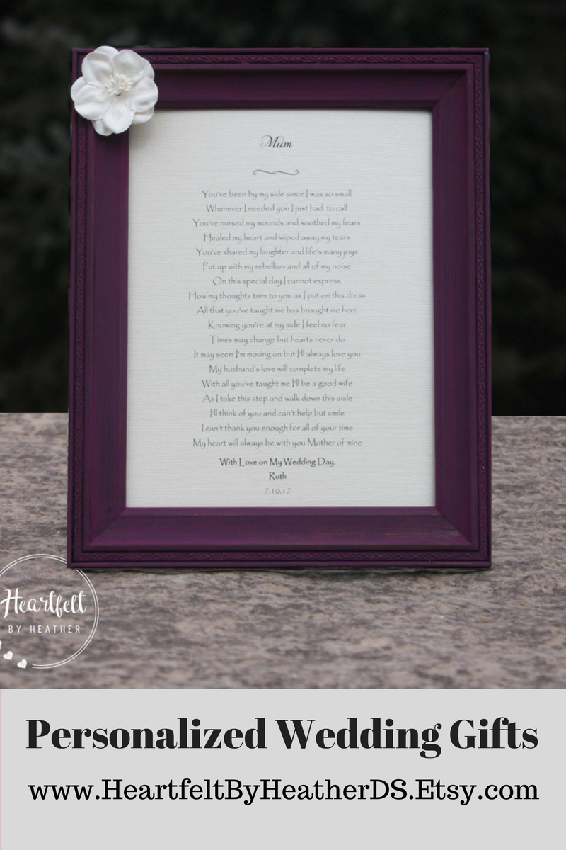 Custom Wedding Poem Gift To Mom On Wedding Day Best Selling Items Mother Of The Bride Gift To Mom From Daughter Mom Wedding Day Gift Wedding Poems Mom