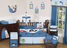 Blue under the sea life ocean fish boy baby bedding crib set sweet ...