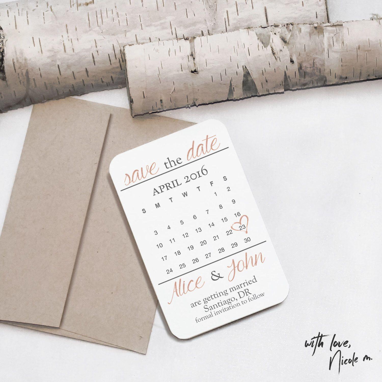 Mini Rose Gold Save The Date Calendar Magnet