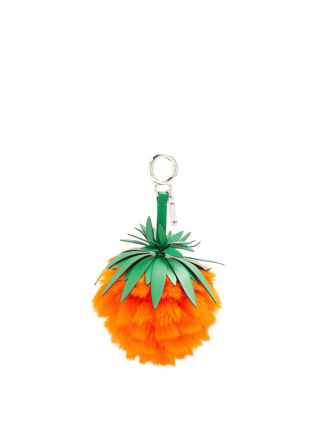 Fendi Pineapple leather and fur bag charm glSusnglOW