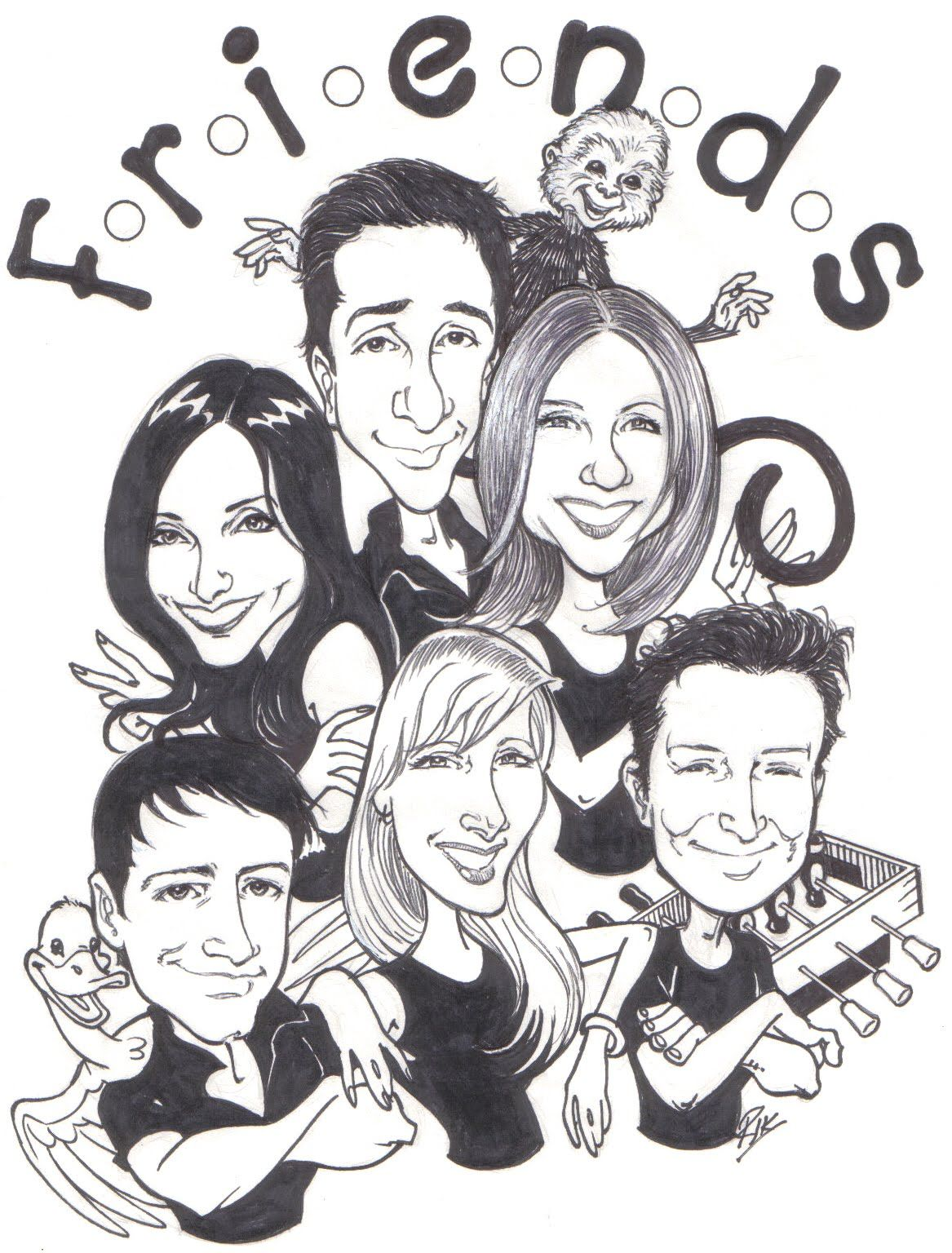 cartoon friends picture carictures