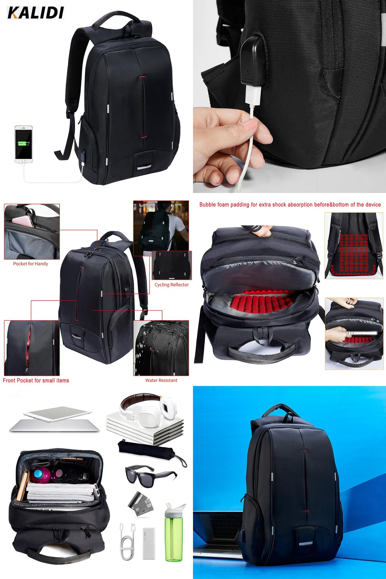 76e32928ad21 Visit to Buy] KALIDI 17 inch Waterproof Men Backpack USB Charging ...