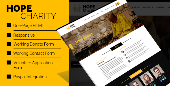 Hope Charity - One-Page Non Profit Website Template HTML   Website ...