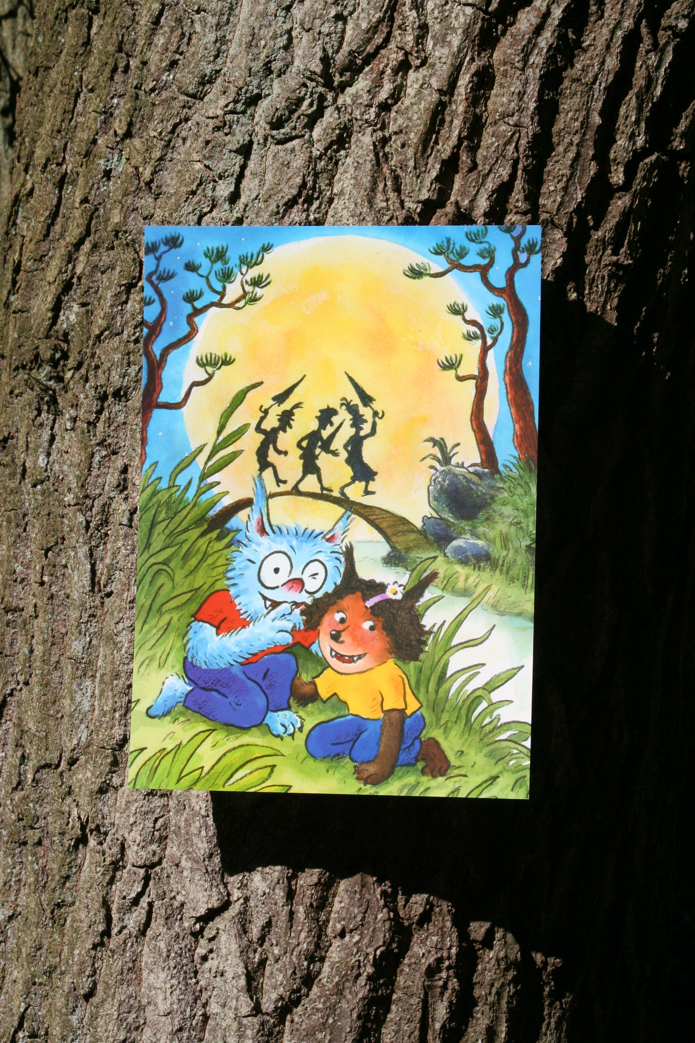 Reuzewenskaart (A4) Dolfje Weerwolfje 'dansende heksen'