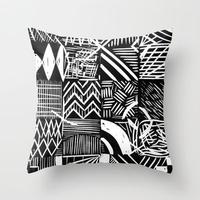 Grid lino print Throw Pillow by Kim Osborne