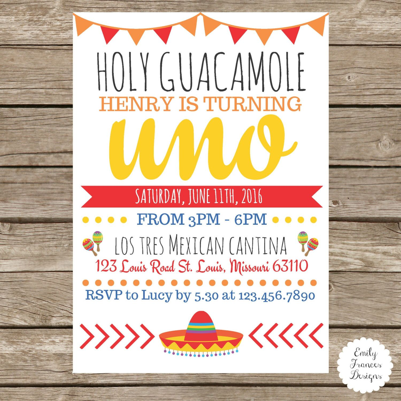 5x7 Holy Guacamole Birthday Party Invitation Fiesta Themed
