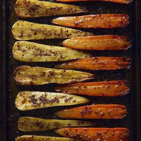 ROASTED CARROTS AND PARSNIPS, WITH HONEYMUSTARD GLAZE, a