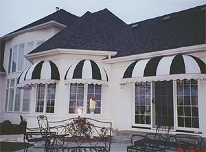 Striped Dome Awnings With Custom Edge Detail Building Front Awning Over Door Window Awnings